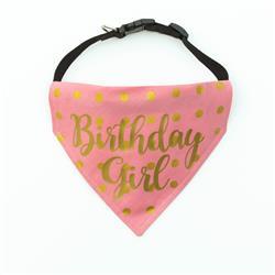 Birthday Dog Bandana | Birthday Girl - Over the Collar Style in 5 Sizes |