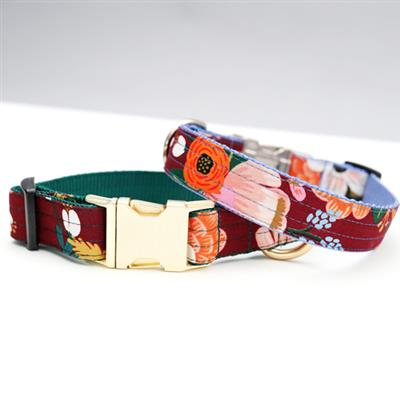'Lively' Wine Floral Voile Dog Collar – Rifle Paper Co. Fabric