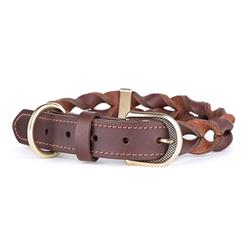 Brown Greased Leather ASCOT Collar | Leash