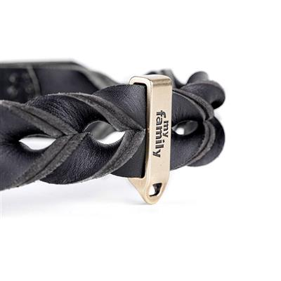 Black Greased Leather ASCOT Collar | Leash