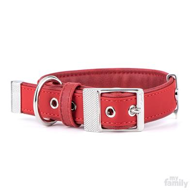 Red Leatherette BILBAO Collar | Leash