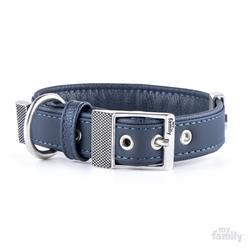 Blue Leatherette BILBAO Collar | Leash
