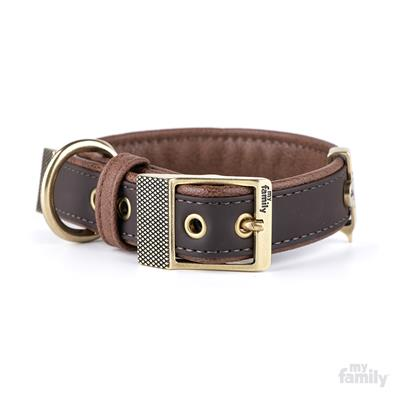 Brown Leatherette BILBAO Collar | Leash