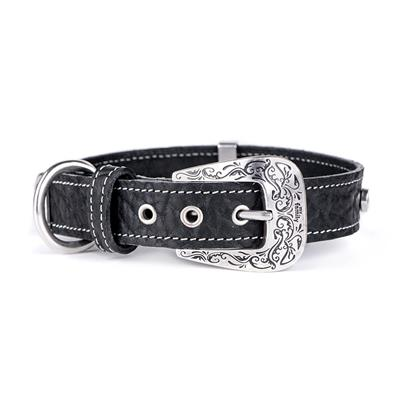Black Embroidered Leather EL PASO Collar