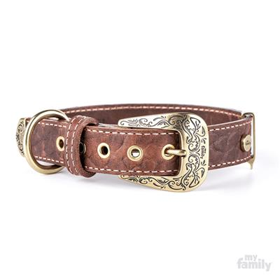 Brown Embroidered Leather EL PASO Collar