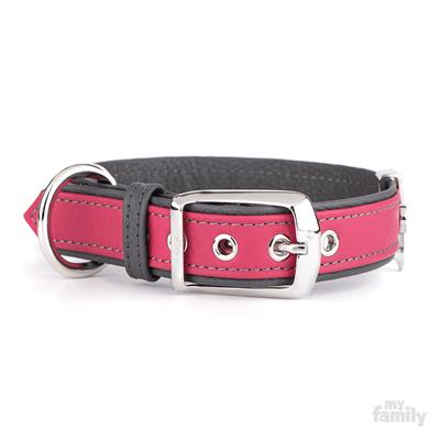 Fuchsia & Grey Leather FIRENZE Collar | Leash