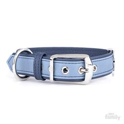 Light Blue & Blue Leather FIRENZE Collar | Leash