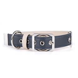 Blue & Cream Leather HERMITAGE Collar | Leash