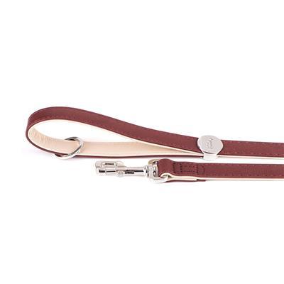 Bordeaux & Cream Leather HERMITAGE Collar | Leash