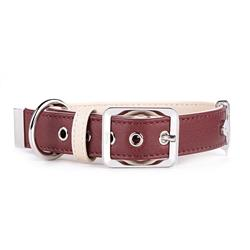 Bordeaux & Cream Leather HERMITAGE Collar | Leash