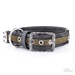 Green & Black Leatherette LONDON Collar | Leash