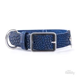 Blue Crocodile Texture Leather TUCSON Collar | Leash