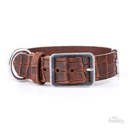 Brown Crocodile Texture Leather TUCSON Collar | Leash