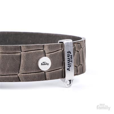 Grey Crocodile Texture Leather TUCSON Collar | Leash