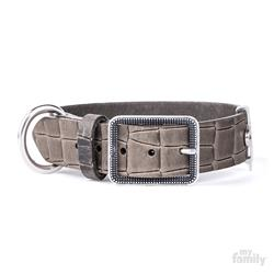 Grey Crocodile Texture Leather TUCSON Collar | Leash