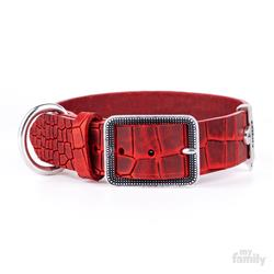 Red Crocodile Texture Leather TUCSON Collar | Leash