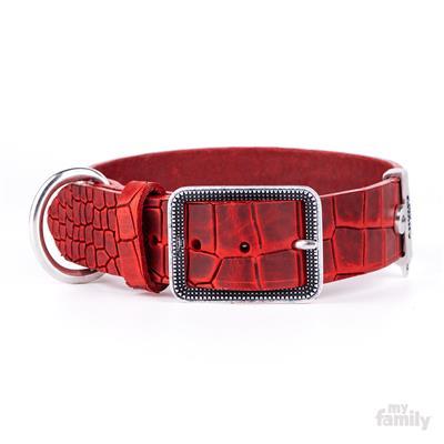 Red Crocodile Texture Leather TUCSON Collar | Leash