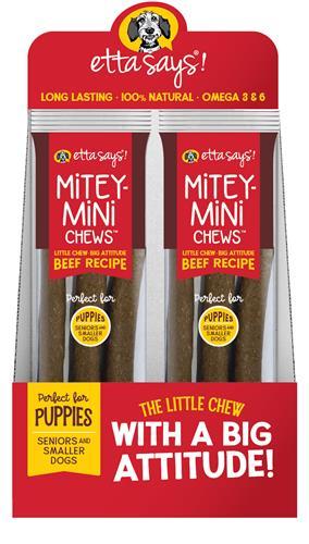 Etta Says! Mitey Mini Chews 3 pk - Beef Recipe - wt 1.5oz - 18 per display box