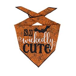Halloween Bandana | Halloween Dog Bandana, Orange Spider Web with Bat | So Wickedly Cute  |