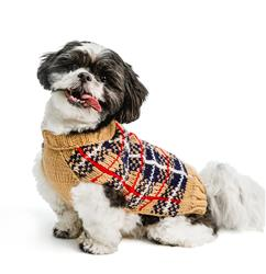 Tan Tartan Plaid Dog Sweater