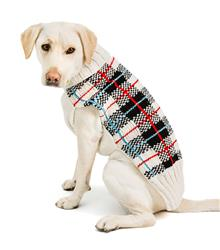 White Tartan Plaid Dog Sweater
