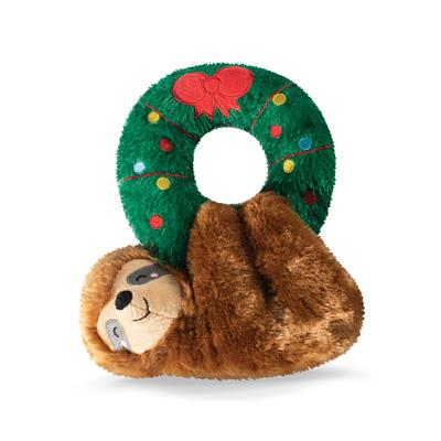 Sloth Hanging From A Wreath Dog Toy
