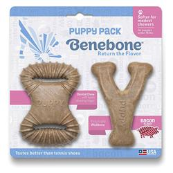 Benebone Puppy Bacon Dental & Wishbone 2-Pack Dog Toy
