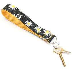 Black & Yellow Daisy Wristlet Key Fob