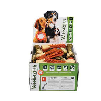 Whimzees Brushzees Daily Dental Dog Treats, POP Display Boxes