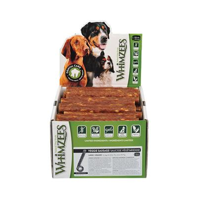 Whimzees Veggie Sausage Daily Dental Treats, POP Display Boxes