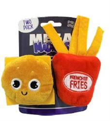 Mega Madness Small Dog Toys - Burger & Fries 2 Pack (CASE OF 3 $15.60) JUST $5.20 EACH