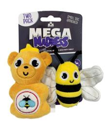 Mega Madness Small Dog Toys - Honey Bee 2 Pack (CASE OF 3 $12.00) $4.00EACH!