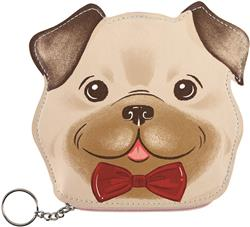HAPPY PUG - Faux Leather Zipper Pouch