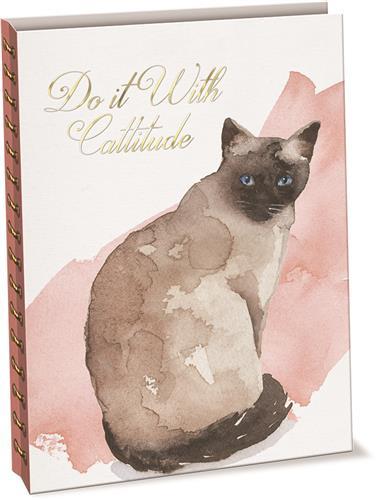 Cattitude - Linen & Paper Spiral Journal