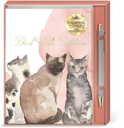 GRAY CATS - Boxed Journal & Pen Set