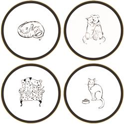 Uptown Pets 4 Piece Ceramic Plate Set