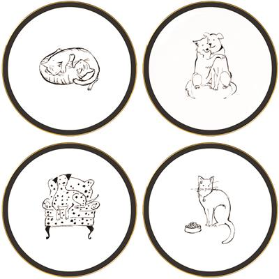 Uptown Pets 4 Piece Ceramic Plate Set