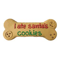 "Pre-packaged 'I Ate Santa's Cookies' 8"" Bone, 8/Case, Yappy Howlidays, MSRP $7.99"