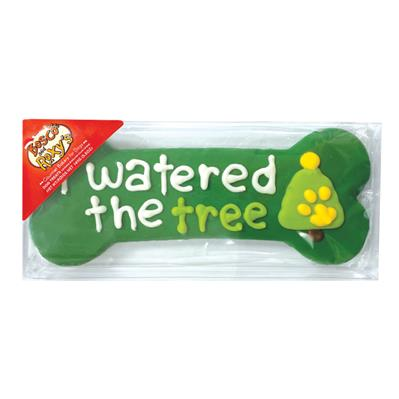 """Pre-packaged 'I Watered the Tree' 8"""" Bone, 8/Case, Yappy Howlidays, MSRP $7.99"""