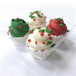 Pre-packaged 4 pack Peanut Butter Merigue Cups with Holly Sprinkles, 6/Case, Yappy Howlidays, MSRP $7.49