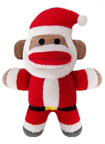 "7.5"" Holiday Baby Sock Monkey Jolly Santa by Lulubelles"