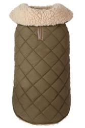 Olive Quilted Shearling Dog Coat