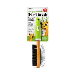 Petkin Soft Grip Bamboo 2 Sided Brush