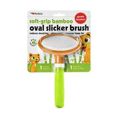 Petkin Soft Grip Bamboo Oval Slicker Brush