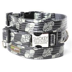'Smokey' Black & Grey Laminated Cotton Dog Collars & Leashes