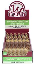 "Wild Eats® Water Buffalo Twisted Cheek Wrapped w/ Meat PDQ Counter Display of 20 Units (JUST $1.29 EACH!) - Dog Chew Approximately 9"" Long - (Also available as single unit individually wrapped #44016 and as 2 pack hang bag #44116)"