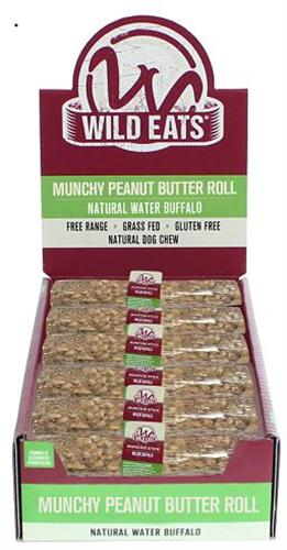 """Wild Eats® WATER BUFFALO 6"""" MUNCHY ROLL FILLED WITH PEANUT BUTTER  DOG CHEW PDQ COUNTER DISPLAY OF 36 UNITS - JUST $1.33 PER ITEM! - (ALSO AVAILABLE AS INDIVIDUALLY WRAPPED SINGLE UNIT #44121 AND AS 2 PACK HANG BAG #44122)"""