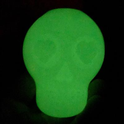 MuttsKickButt by SodaPup - Glow in the Dark Sugar Skull Dog Chew Toy and Treat Dispenser for Aggressive Chewers, Guaranteed Tough, Made in USA, Translucent, Medium