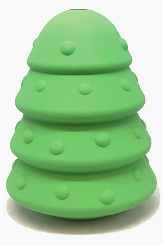 MuttsKickButt by SodaPup, Christmas Tree Shaped Natural Rubber Chew Toy and Treat Dispenser for Aggressive Chewers, Guaranteed Tough, Made in USA, Large - Green