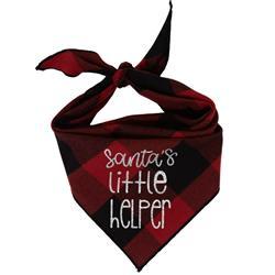 Christmas Bandana - Black & Red Plaid Flannel Dog Bandana  - SANTA'S LITTLE HELPER